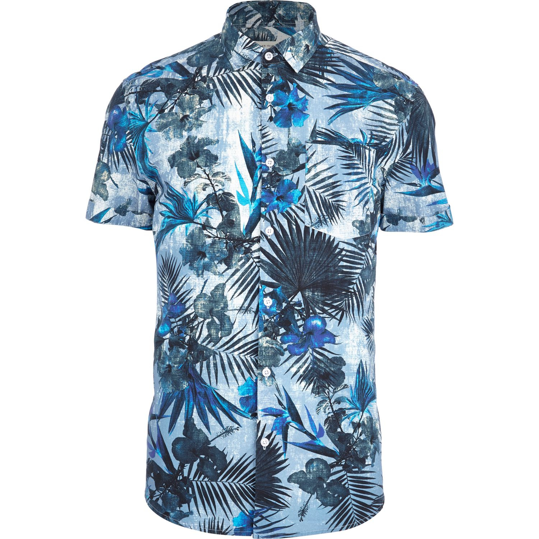 River Island Blue Tropical Flower Print Short Sleeve Shirt In Blue