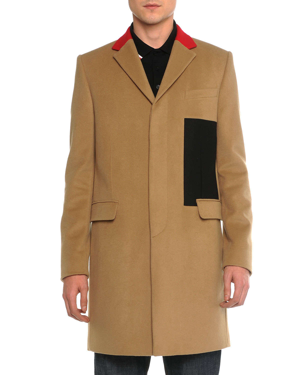 Givenchy Color Blocked Wool Cashmere Topcoat In Natural