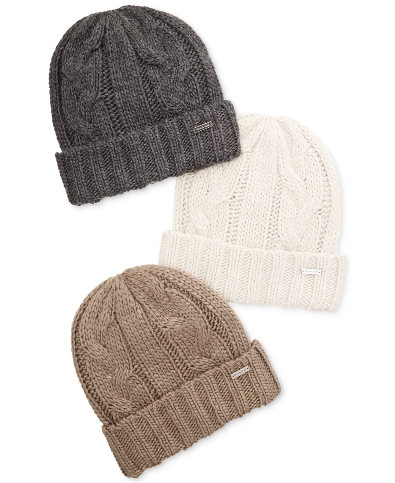 Lyst - Michael Kors Hand-Knit Cable Cuff Hat in Gray for Men ea4611bba61
