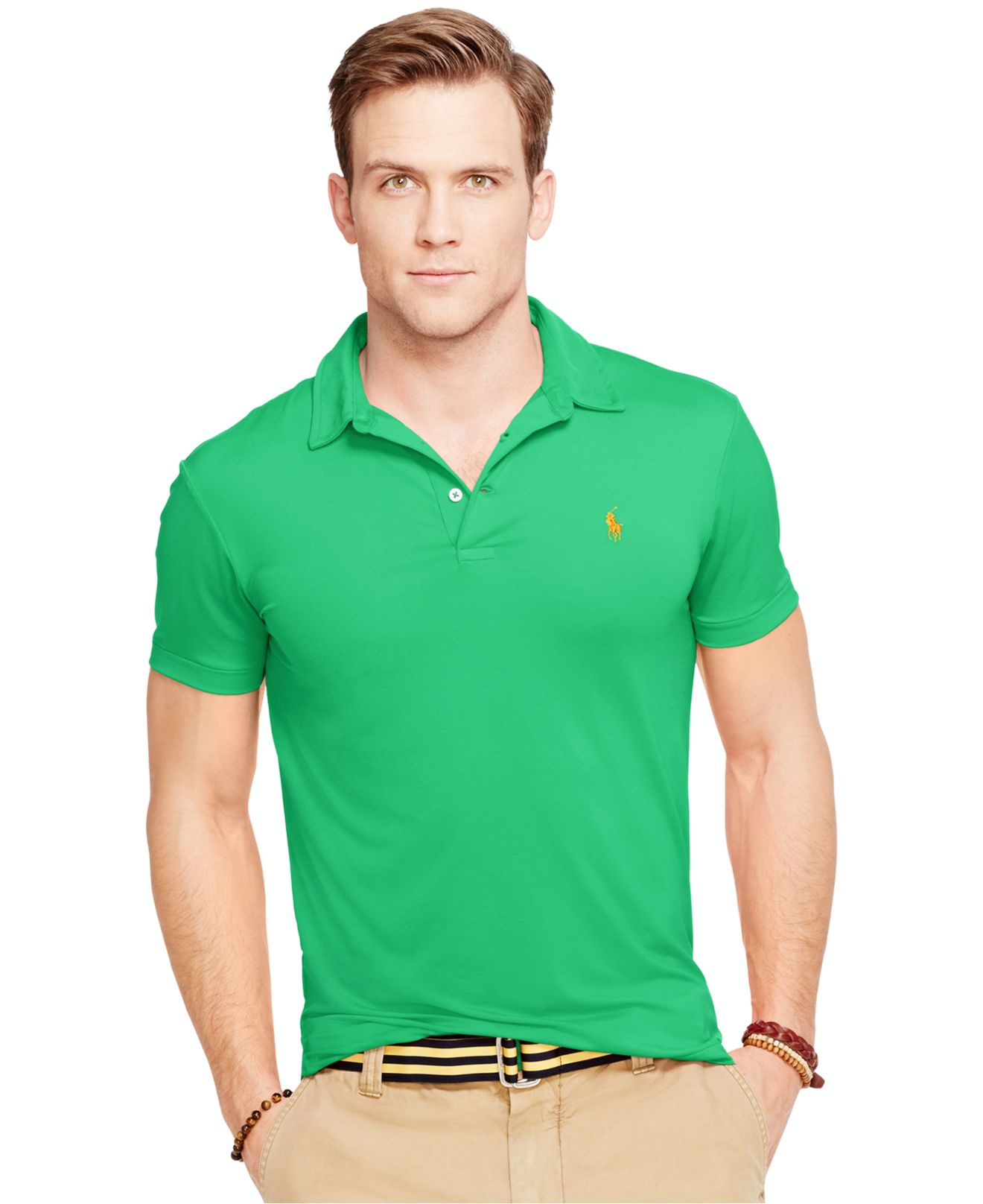 Polo ralph lauren performance jersey polo shirt in green Man in polo shirt