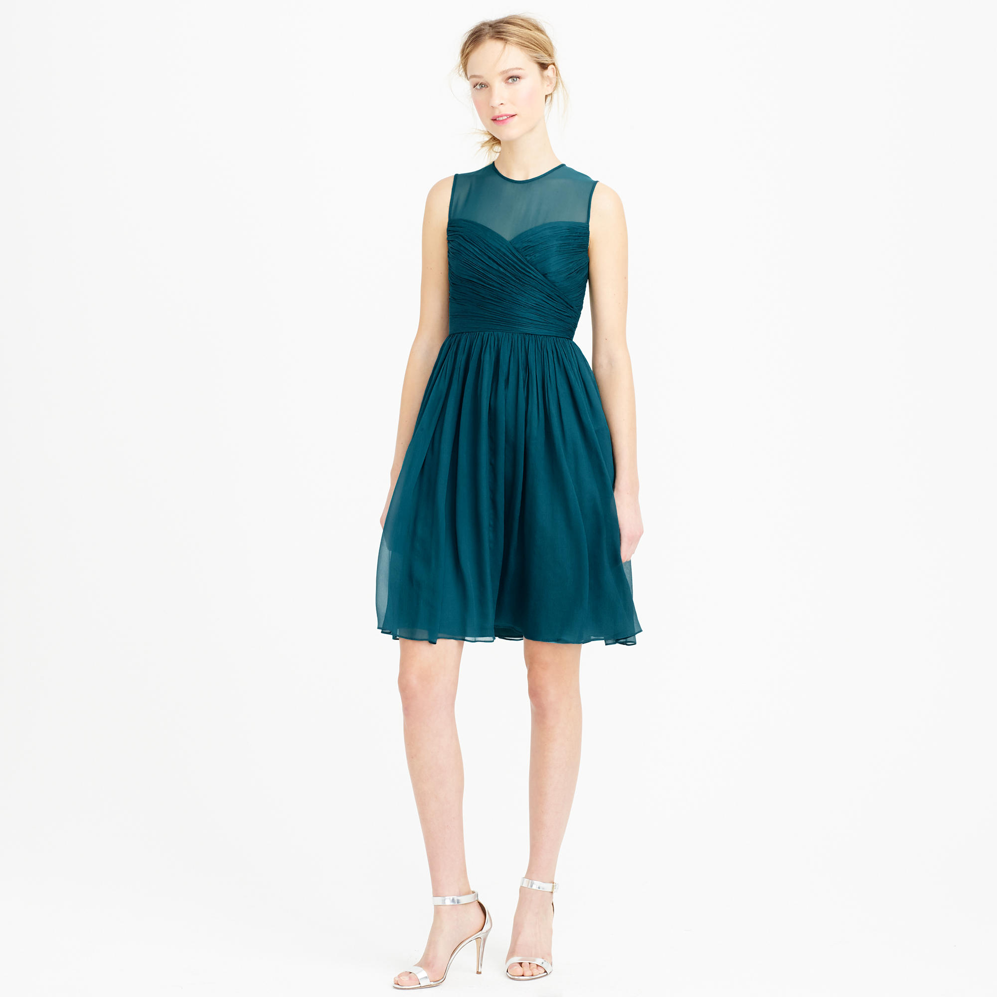 Clara dress in silk chiffon in green lyst for J crew beach wedding dress