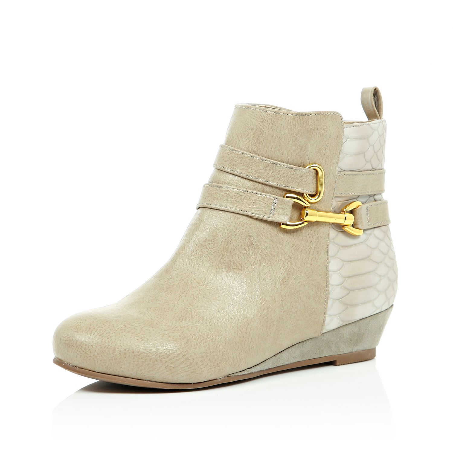 a94937455ca7 River Island Girls Cream Wedge Ankle Boots in Natural - Lyst