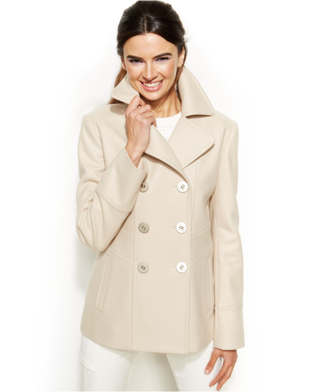 Kenneth cole reaction Petite Wool-Blend Peacoat in Natural | Lyst