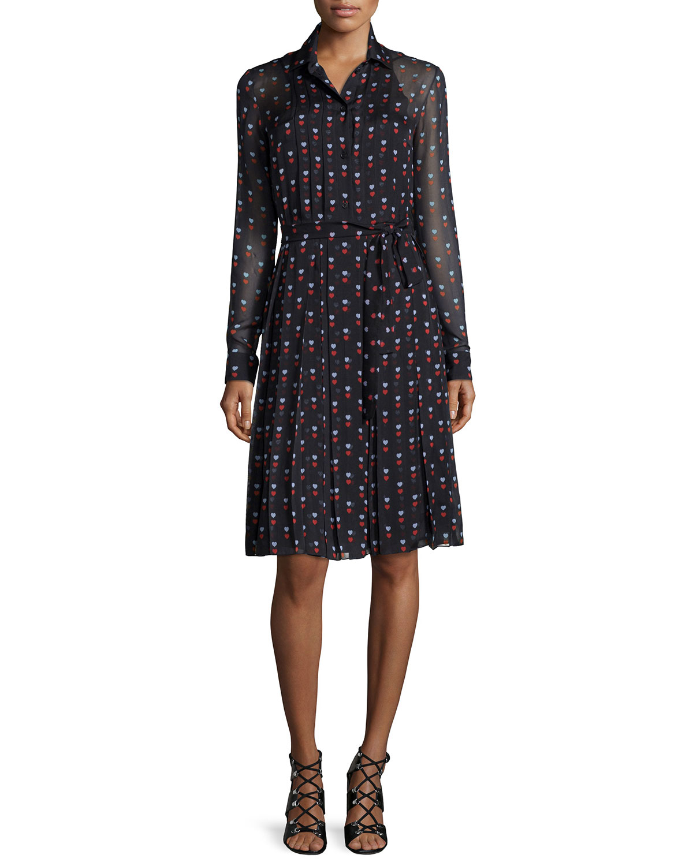 Lyst christopher kane pleated heart print shirt dress in for Black pleated dress shirt