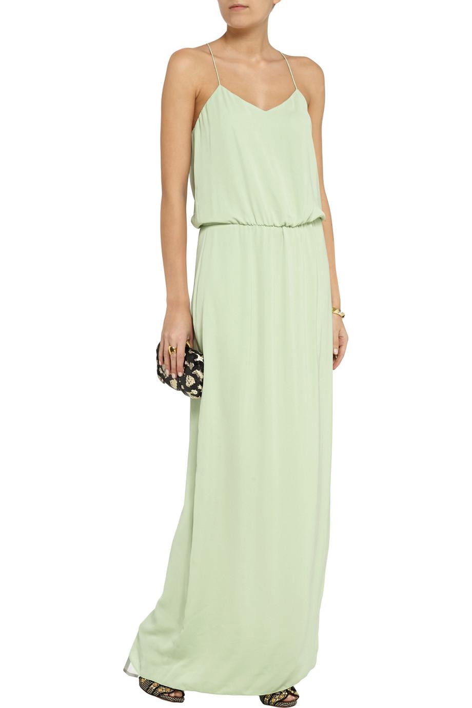 Tibi Draped Washed-georgette Maxi Dress in Green | Lyst