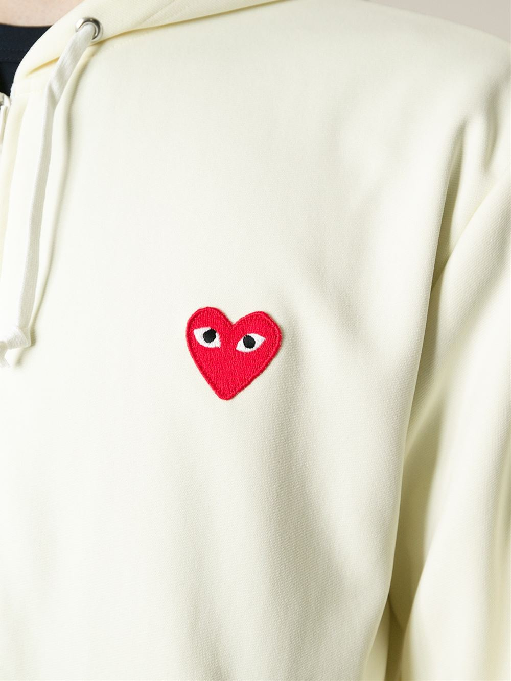 Play Comme Des Gar 231 Ons Embroidered Heart Hoodie In White For Men Lyst