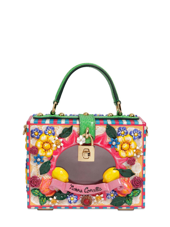 b354dc7d176d Lyst - Dolce   Gabbana Dolce Bag Nonna Concetta Wooden Bag in Green