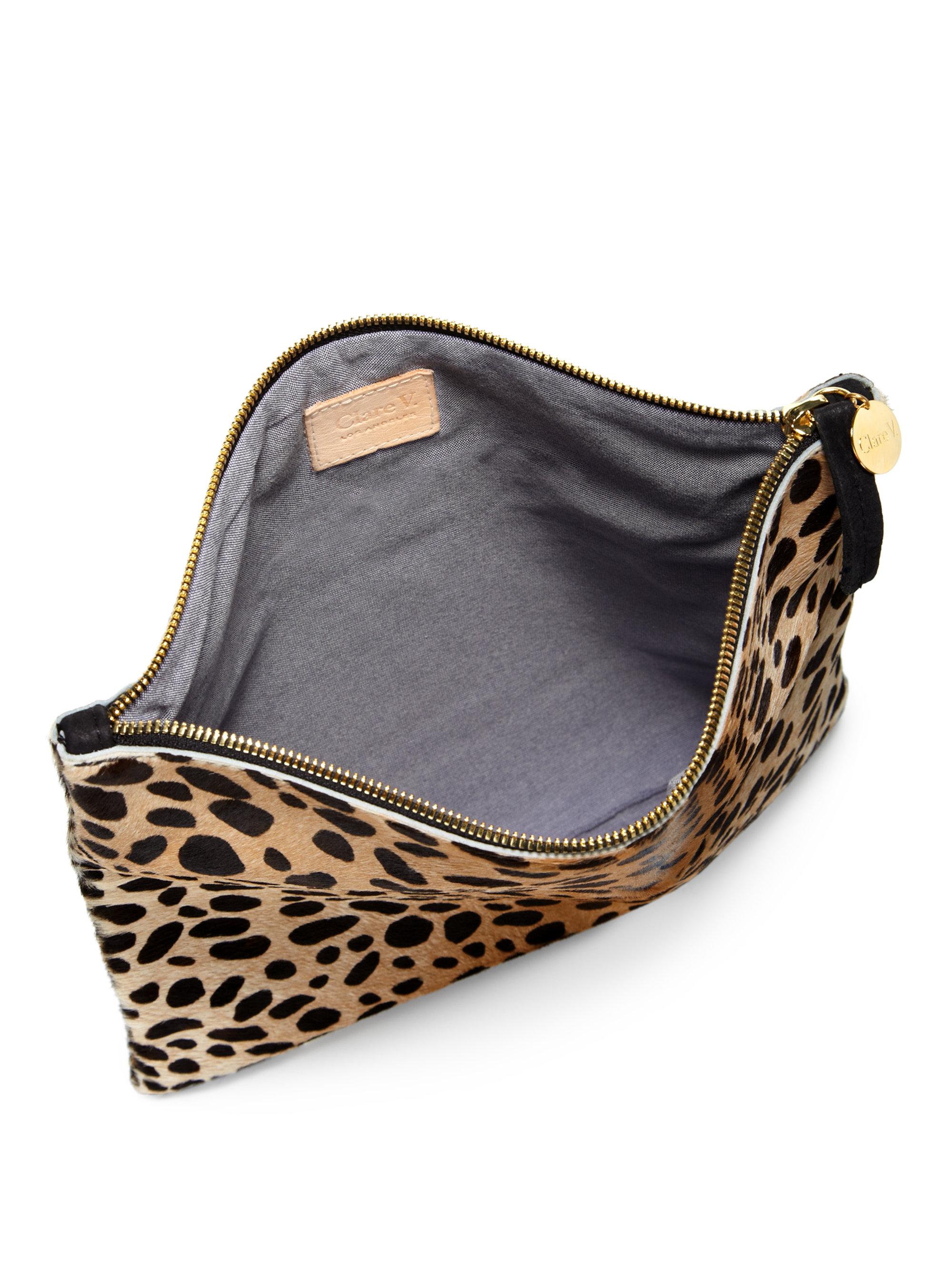 8387f9d82e5c Clare V. Leopardprint Calf Hair Foldover Clutch - Lyst