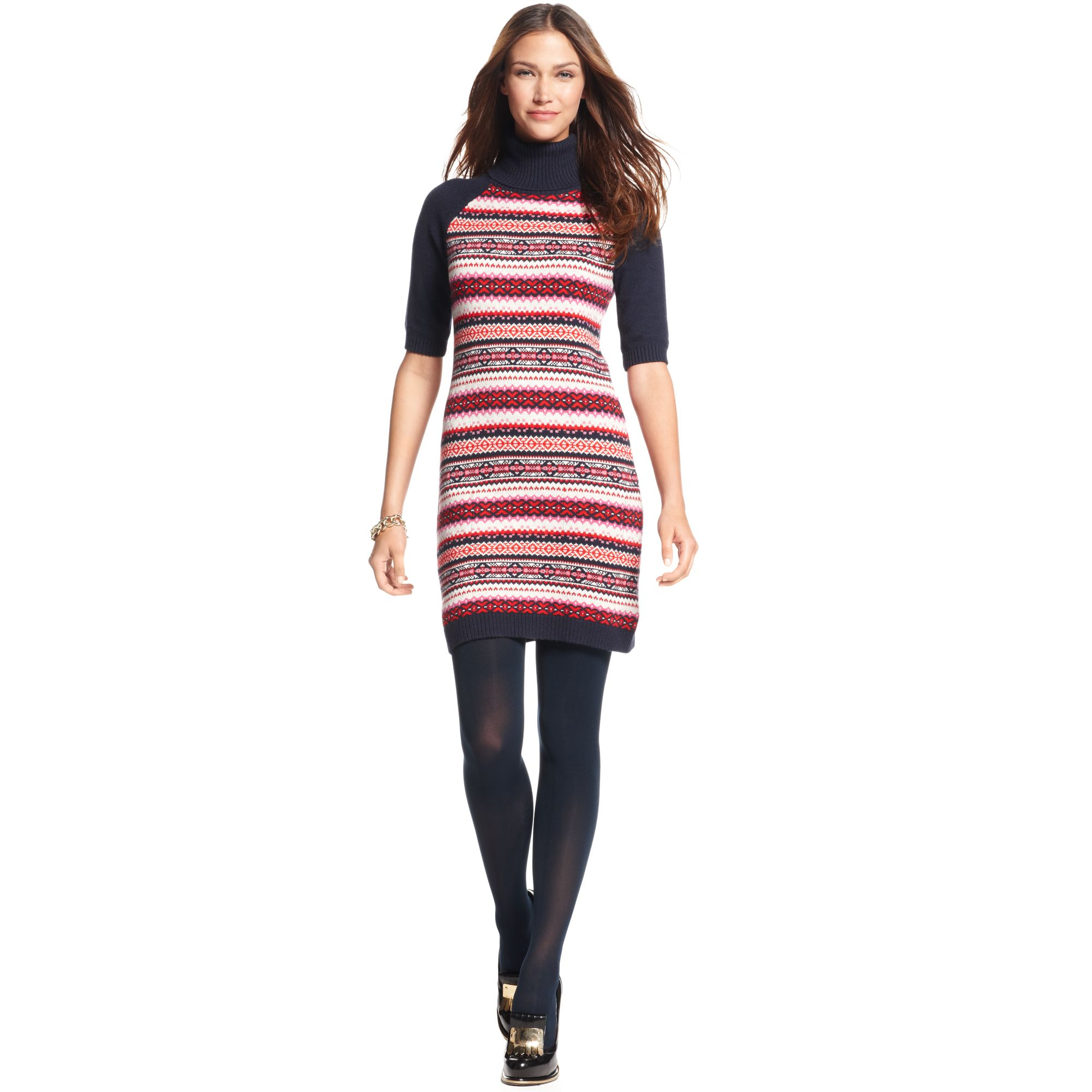Tommy hilfiger Short Sleeve Printed Sweater Dress | Lyst