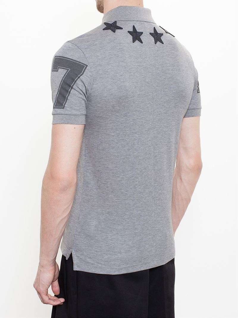 Givenchy star polo shirt in gray for men lyst for Givenchy 5 star shirt