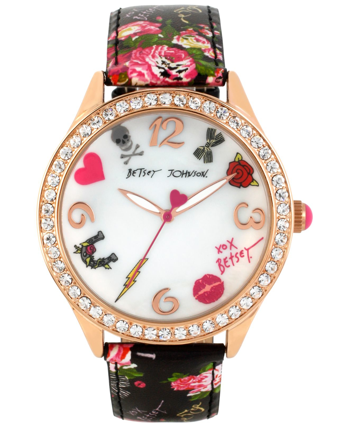 betsey johnson s gold tone floral printed