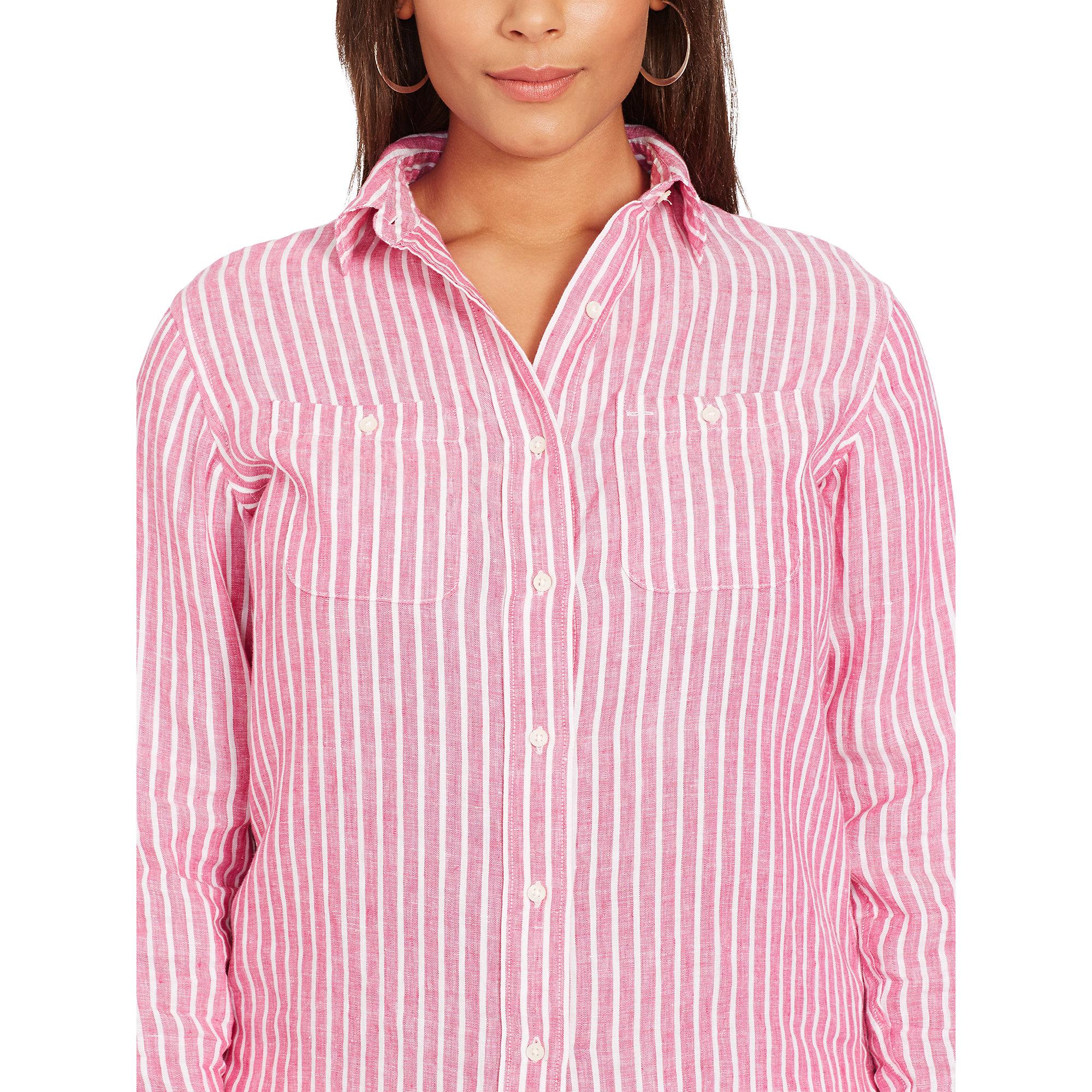 4bb49c4dcf ... discount code for lyst ralph lauren striped linen shirt in pink a4083  dd7ba