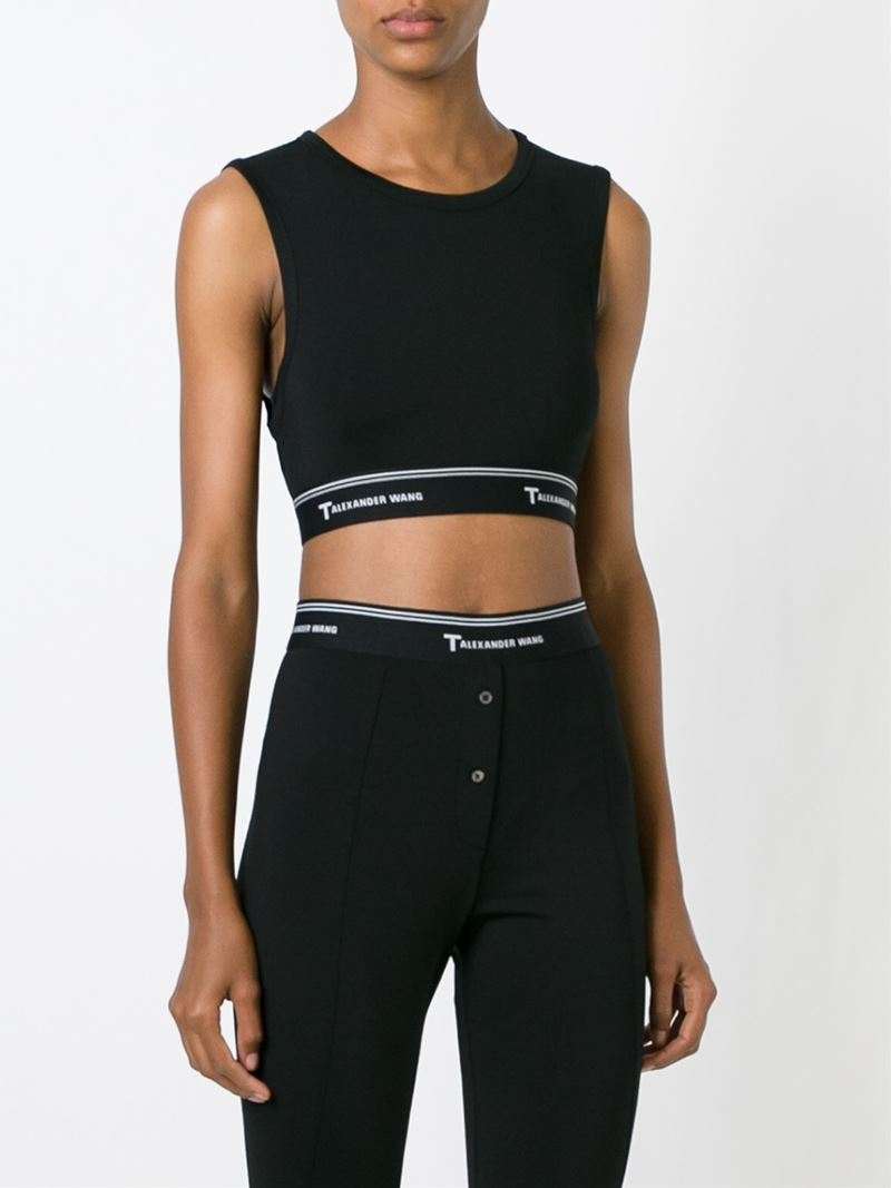 f2a8d2f3f581a4 Lyst - T By Alexander Wang Cut-out Back Cropped Top in Black