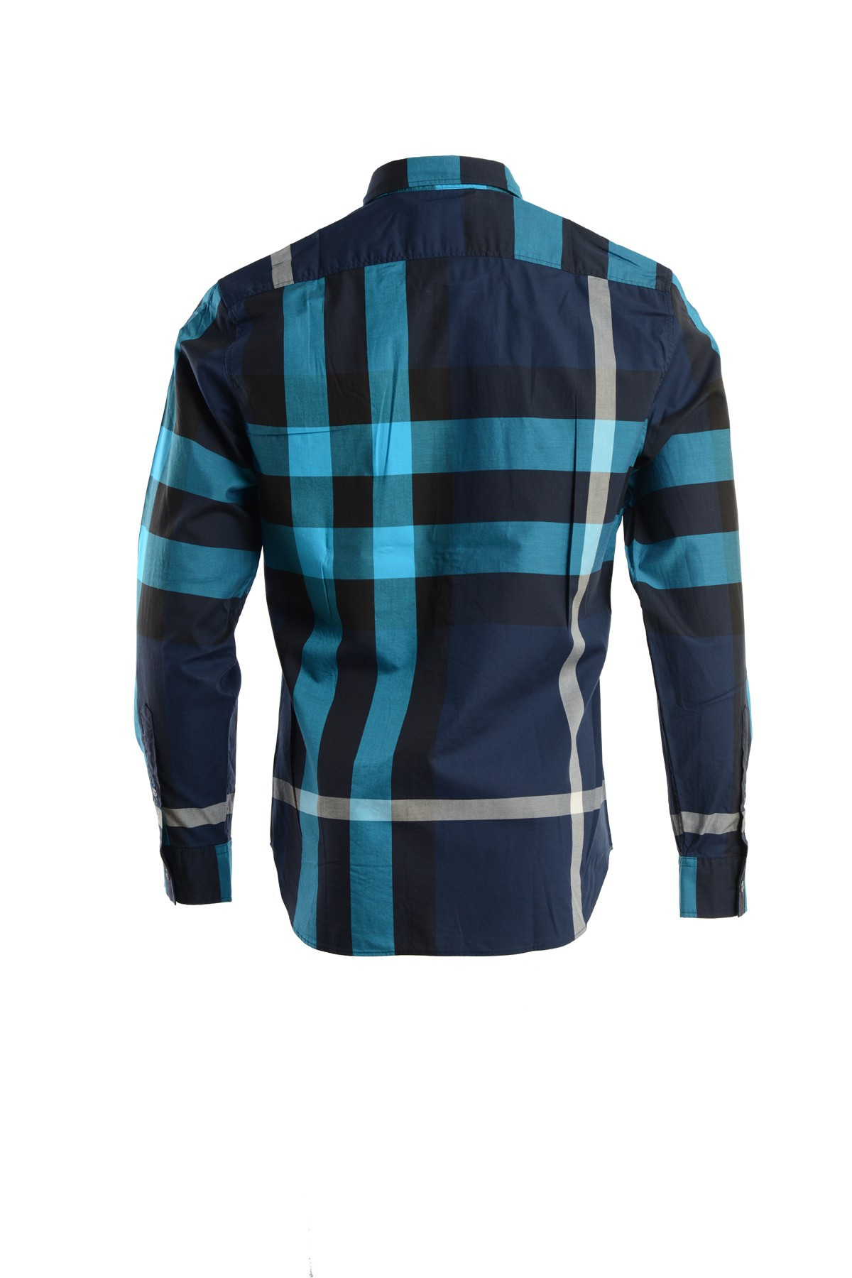 Burberry Twill Cotton Button Down Shirt In Blue For Men Lyst