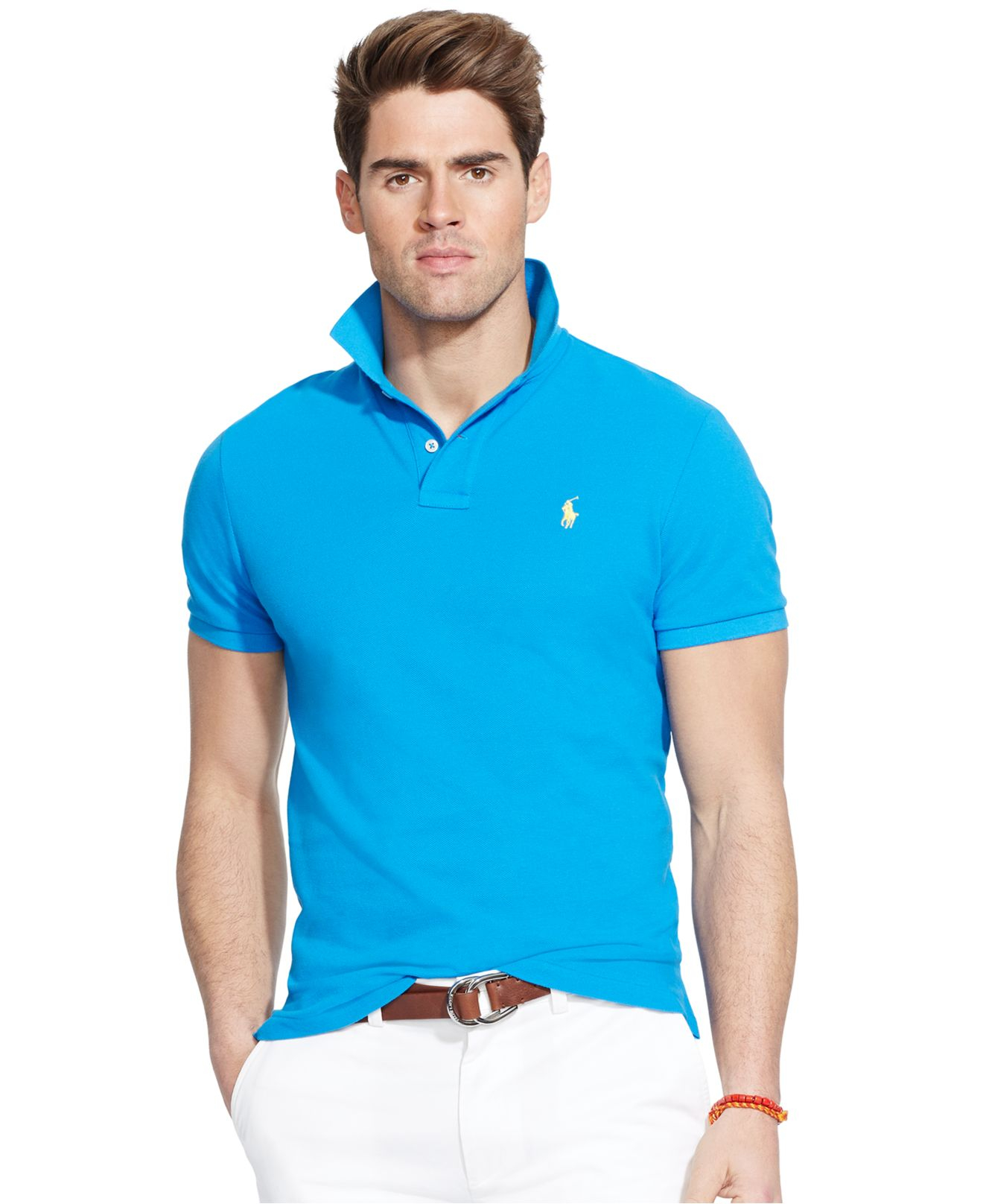 ae96134b Polo Ralph Lauren Custom-fit Mesh Polo Shirt in Blue for Men - Lyst