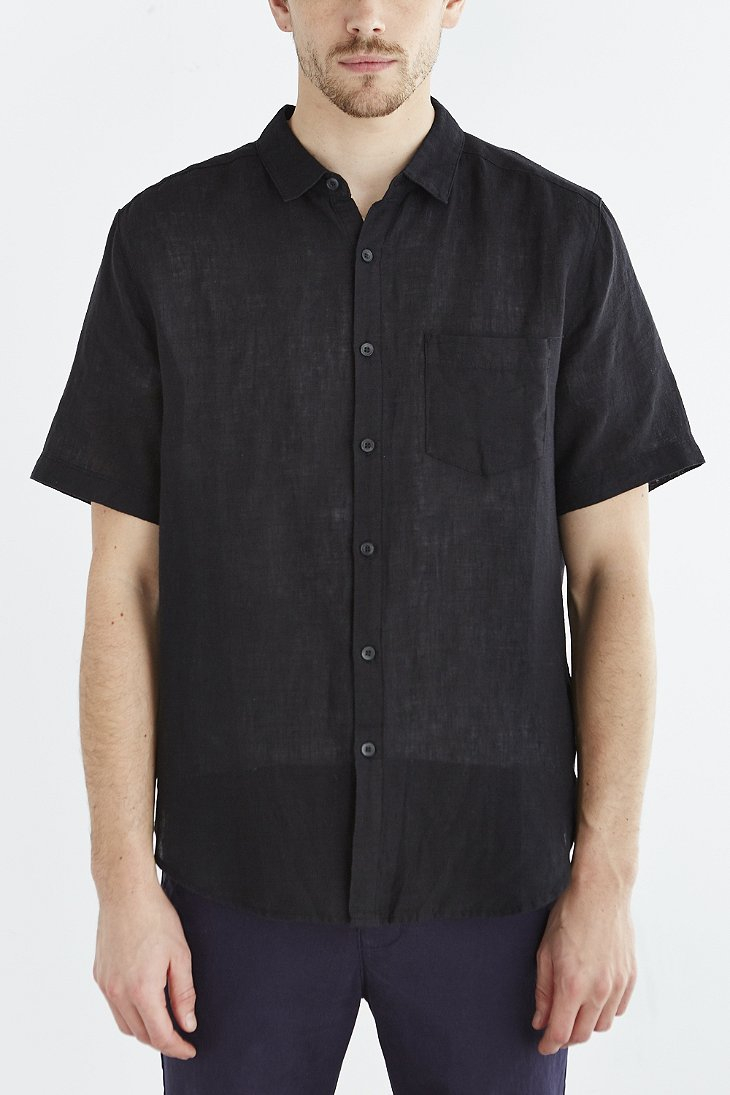 Your neighbors Short-sleeve Kieran Linen Button-down Shirt in ...