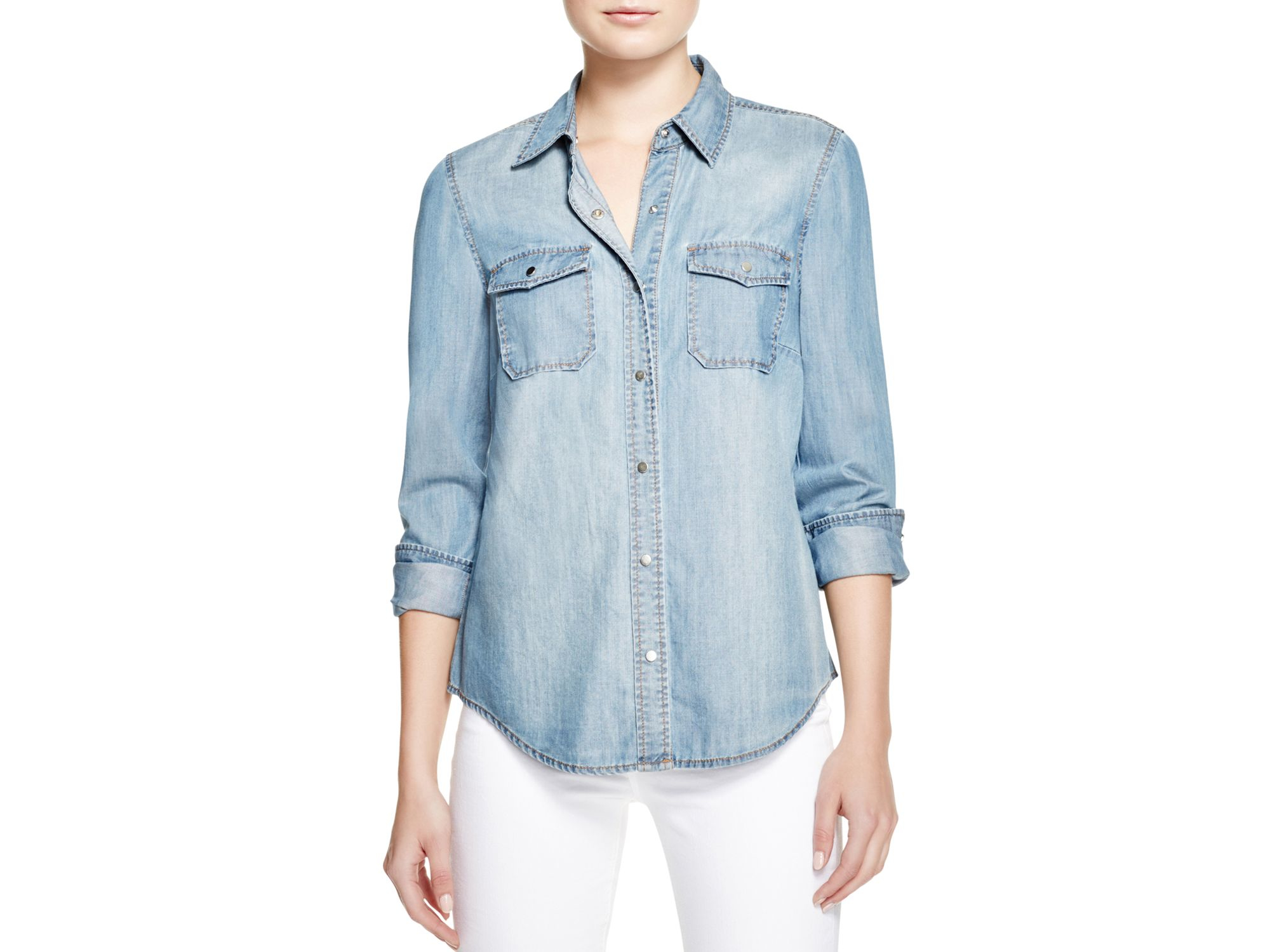 Lyst - Bardot Fitted Denim Shirt in Blue