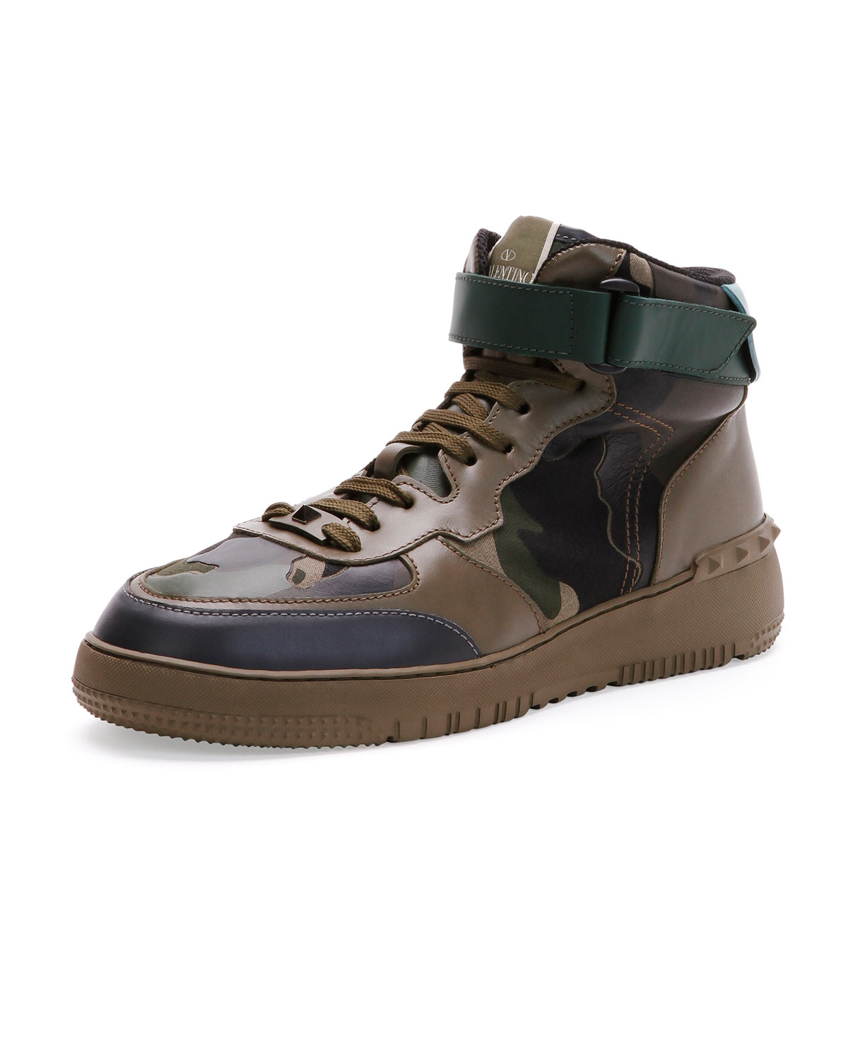 valentino rockstud camo high top sneaker in green for men lyst. Black Bedroom Furniture Sets. Home Design Ideas