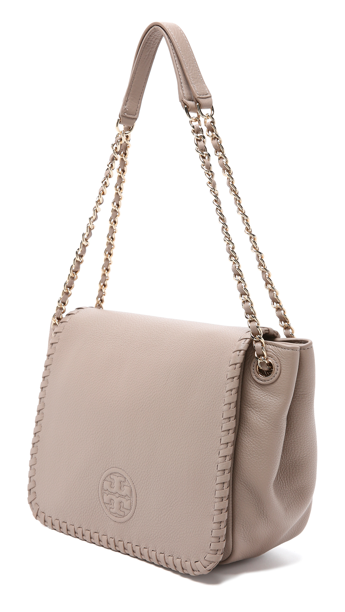 3a681212ad6 ... cheap lyst tory burch marion small flap shoulder bag french gray in gray  bdec5 1b4d0