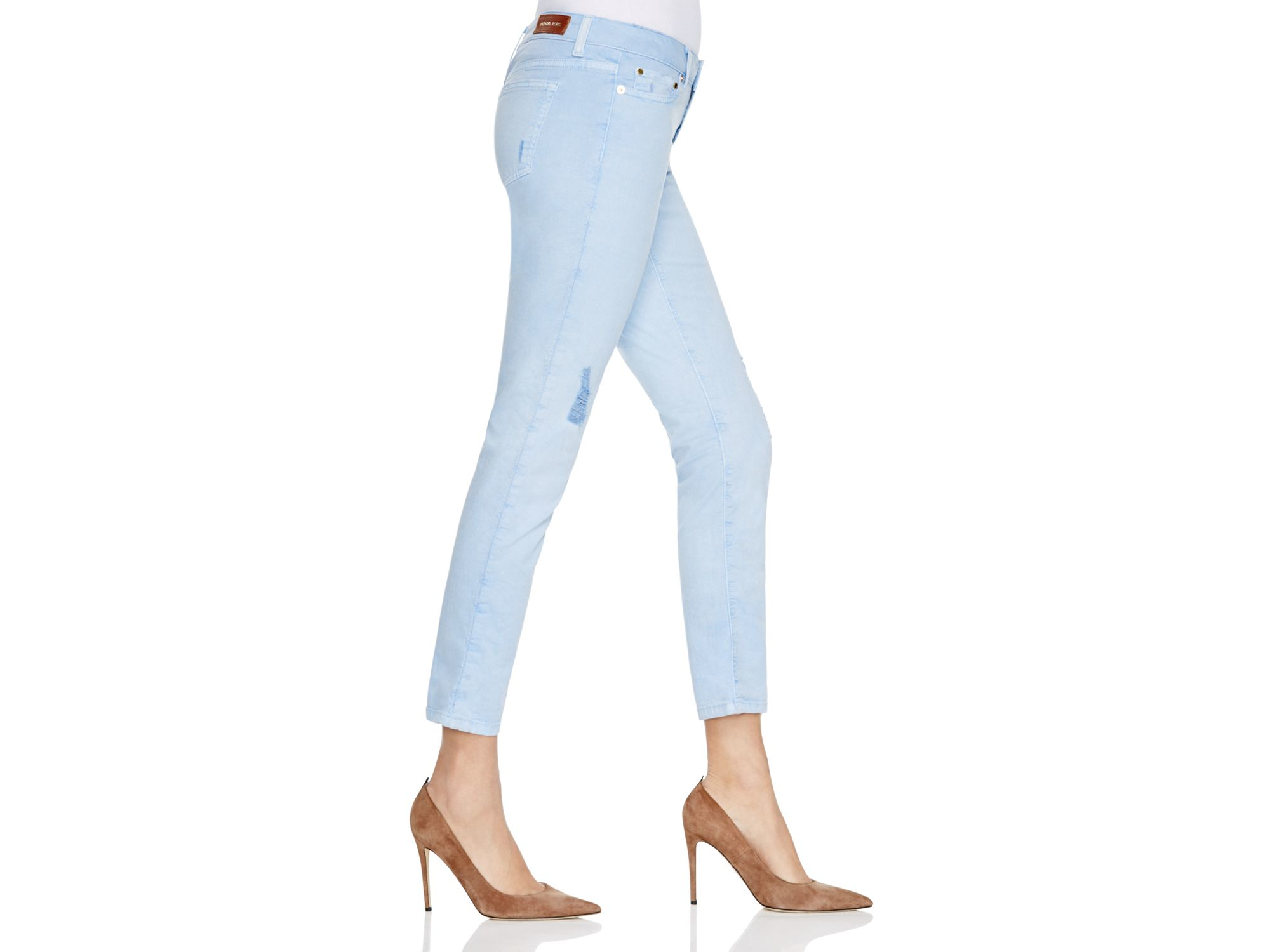 Michael kors Michael Distressed Cropped Skinny Jeans In Pale Crew