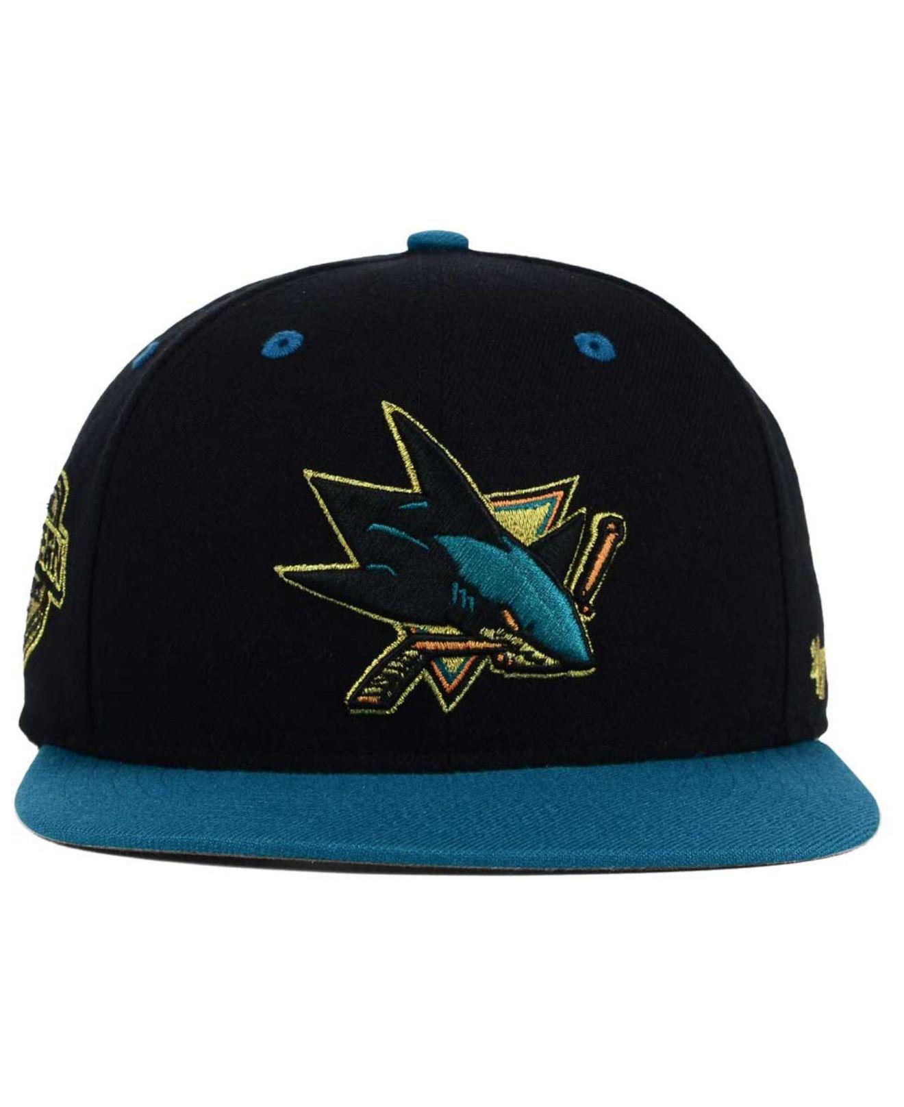 on sale 70330 b60a8 ... order lyst 47 brand san jose sharks gold rush snapback cap in black for  men 8e874