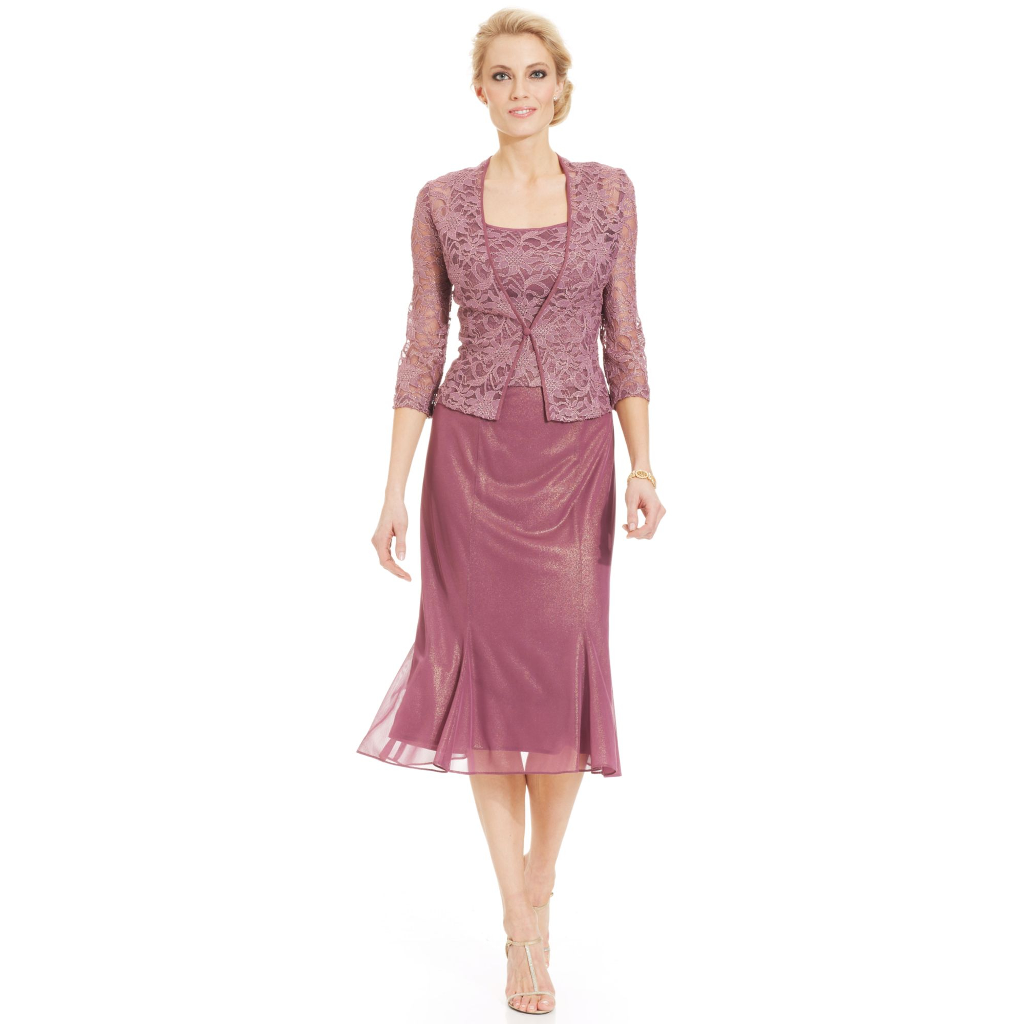 f16259f60b870 Alex Evenings Sleeveless Lace Tealength Dress and Jacket in Purple ...