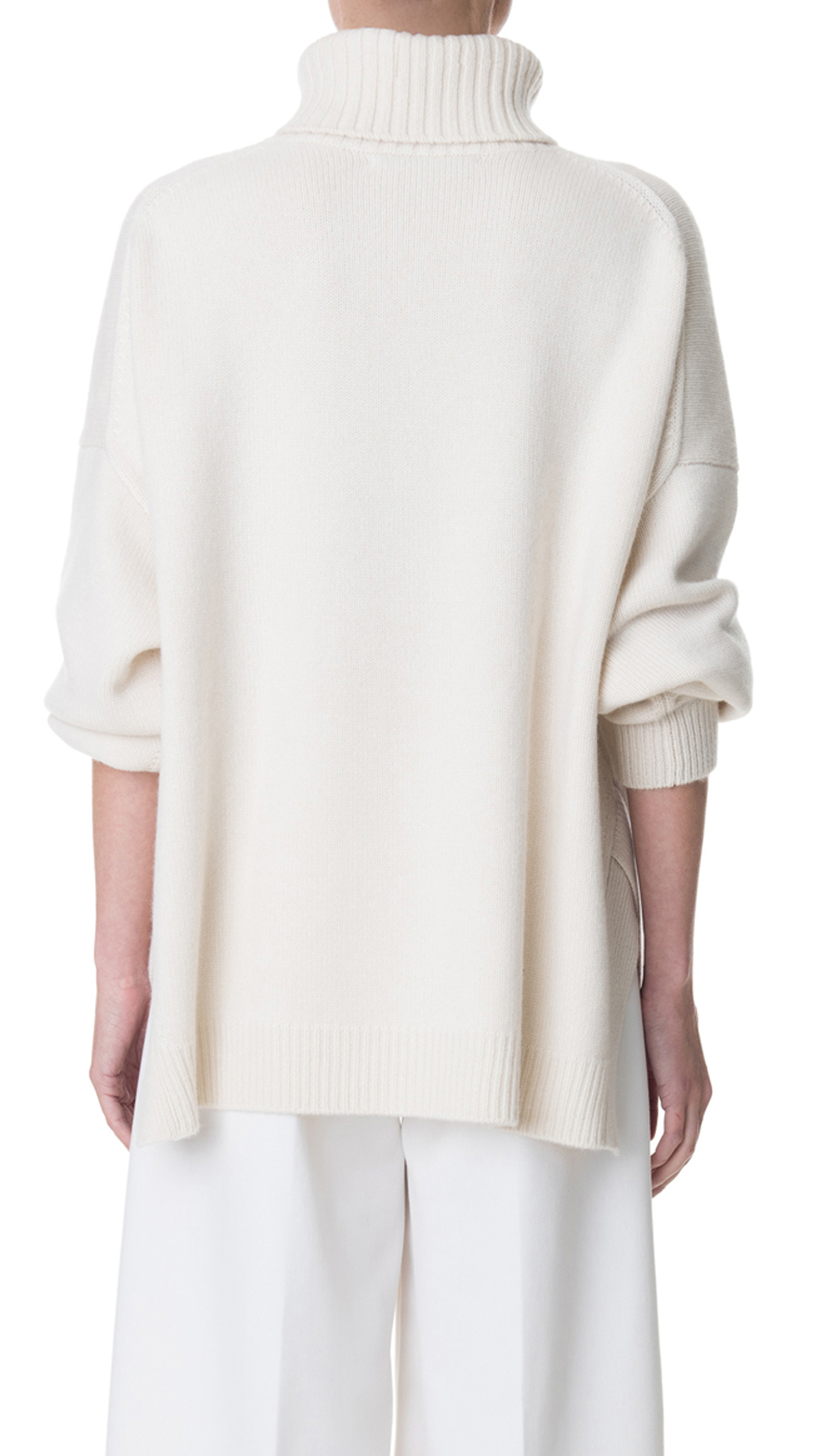 tibi cashmere turtleneck oversized pullover in white ivory lyst. Black Bedroom Furniture Sets. Home Design Ideas