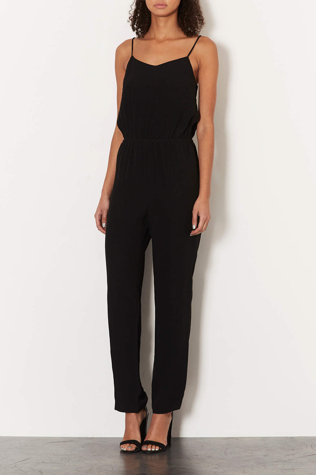 2f5e2c2ad64 Lyst - TOPSHOP Tall Satin Strappy Jumpsuit in Black