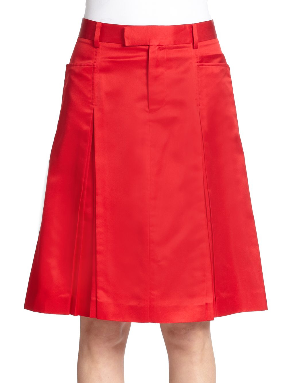 creatures of the wind pleated satin a line skirt in lyst