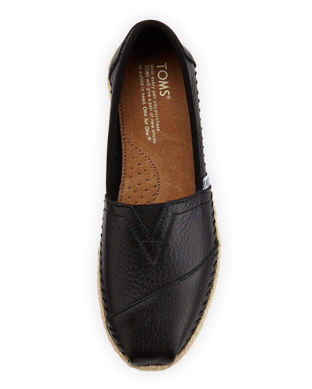 803549136c1 Lyst - TOMS Leather Espadrille Slip-on in Black