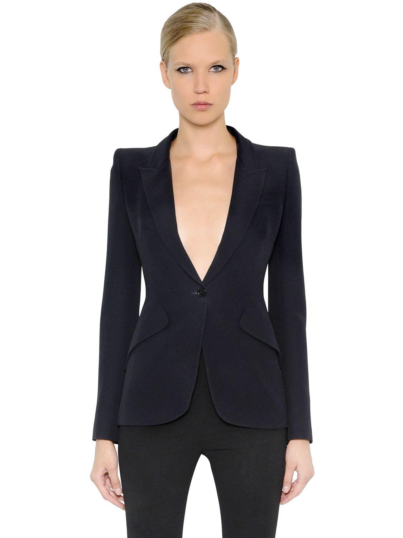29afc9e9868 Lyst - Alexander McQueen Leaf Crepe Jacket in Black