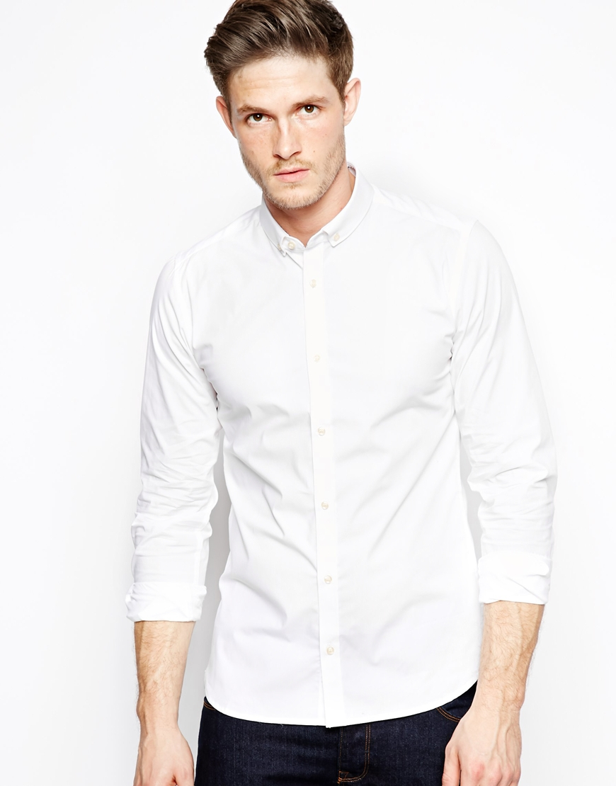 French connection shirt formal stretch in white for men lyst for Mens formal white shirts