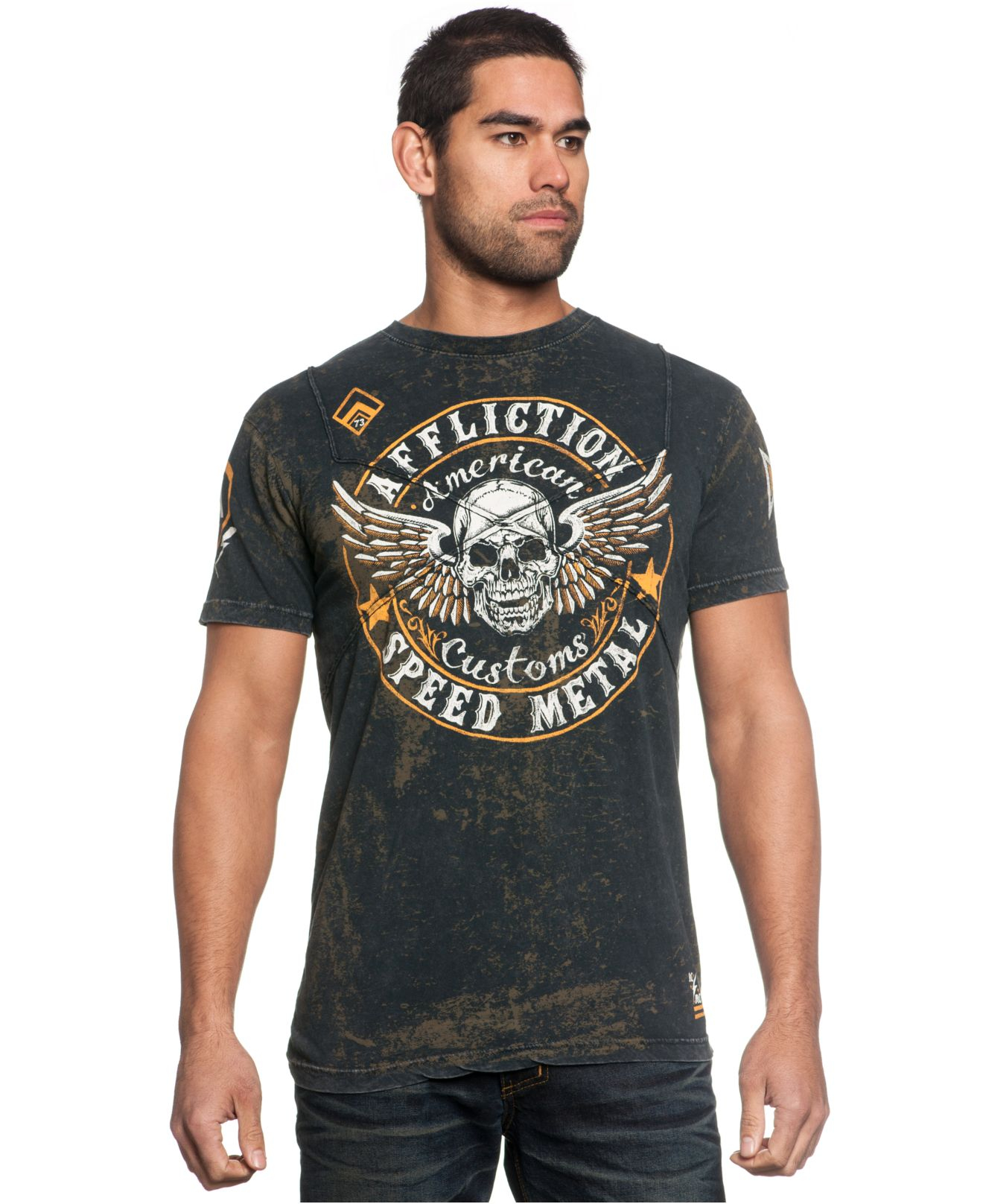 Affliction men 39 s crusaders cross tape graphic t shirt in for Mens affliction t shirts