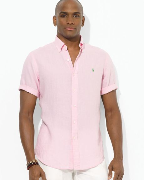 Ralph lauren custom fit short sleeved linen sport shirt in for Custom fit dress shirts