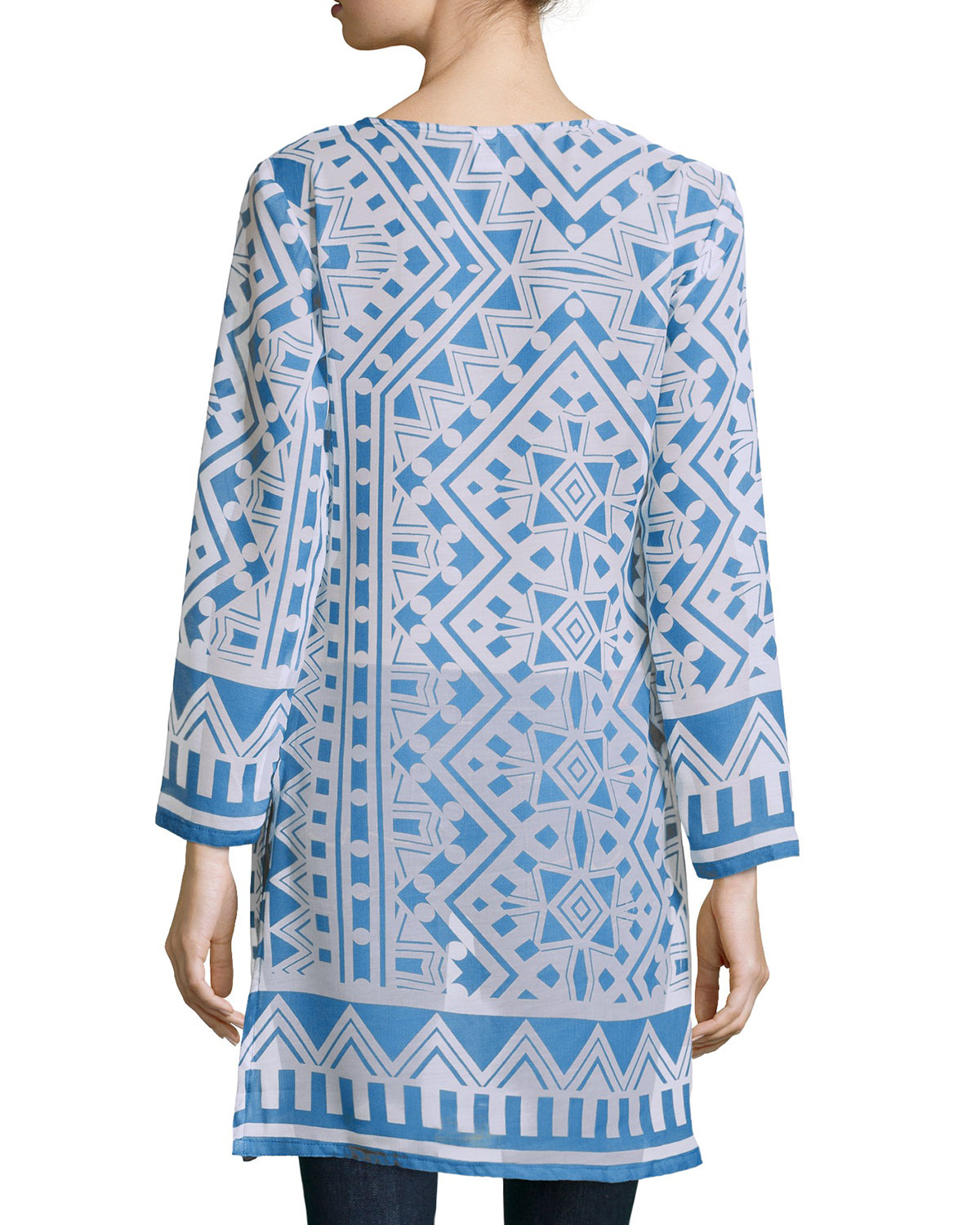 ff9df3e6170 Raj Moroccan Printed Long-sleeve Tunic Dress in Blue - Lyst