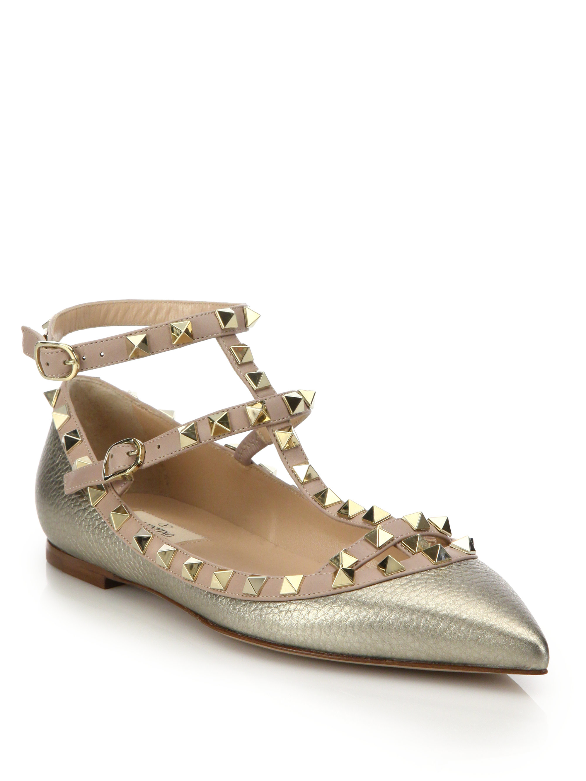 Valentino Metallic Rockstud Flats popular for sale SFArxjtBw