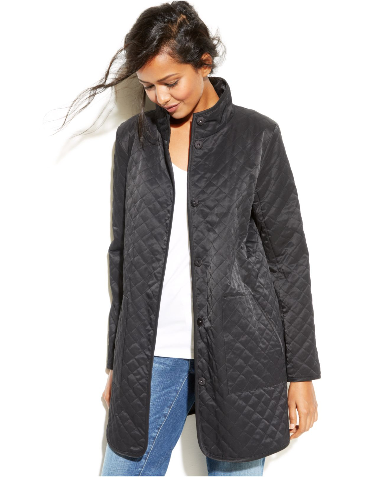 Lyst Eileen Fisher Lightweight Quilted Barn Jacket In Gray