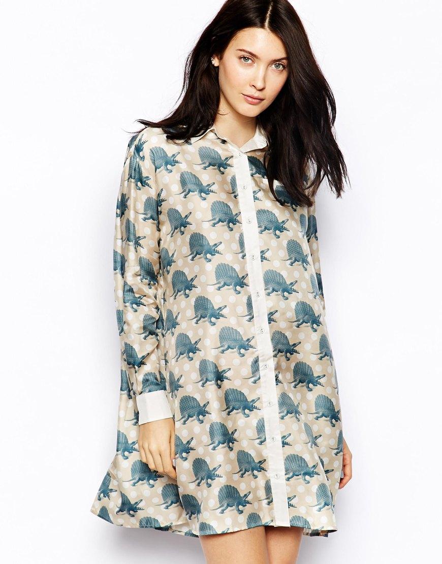 Emma Cook Dino Print Silk Shirt Dress In Blue Lyst