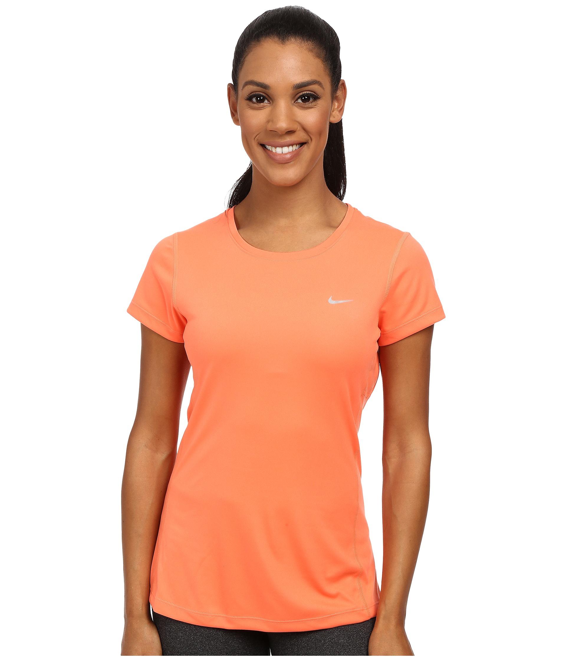 sale retailer 00cb9 b0801 Nike Dri-fit™ Miler Short Sleeve Top in Orange - Lyst