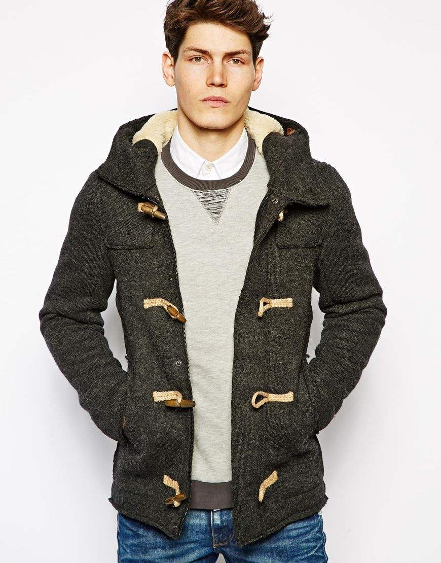 Pull&bear Duffle Coat in Gray for Men | Lyst