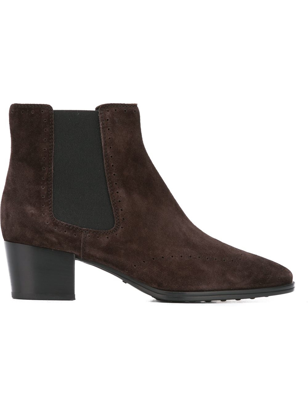 tod s chunky heel ankle boots in brown lyst