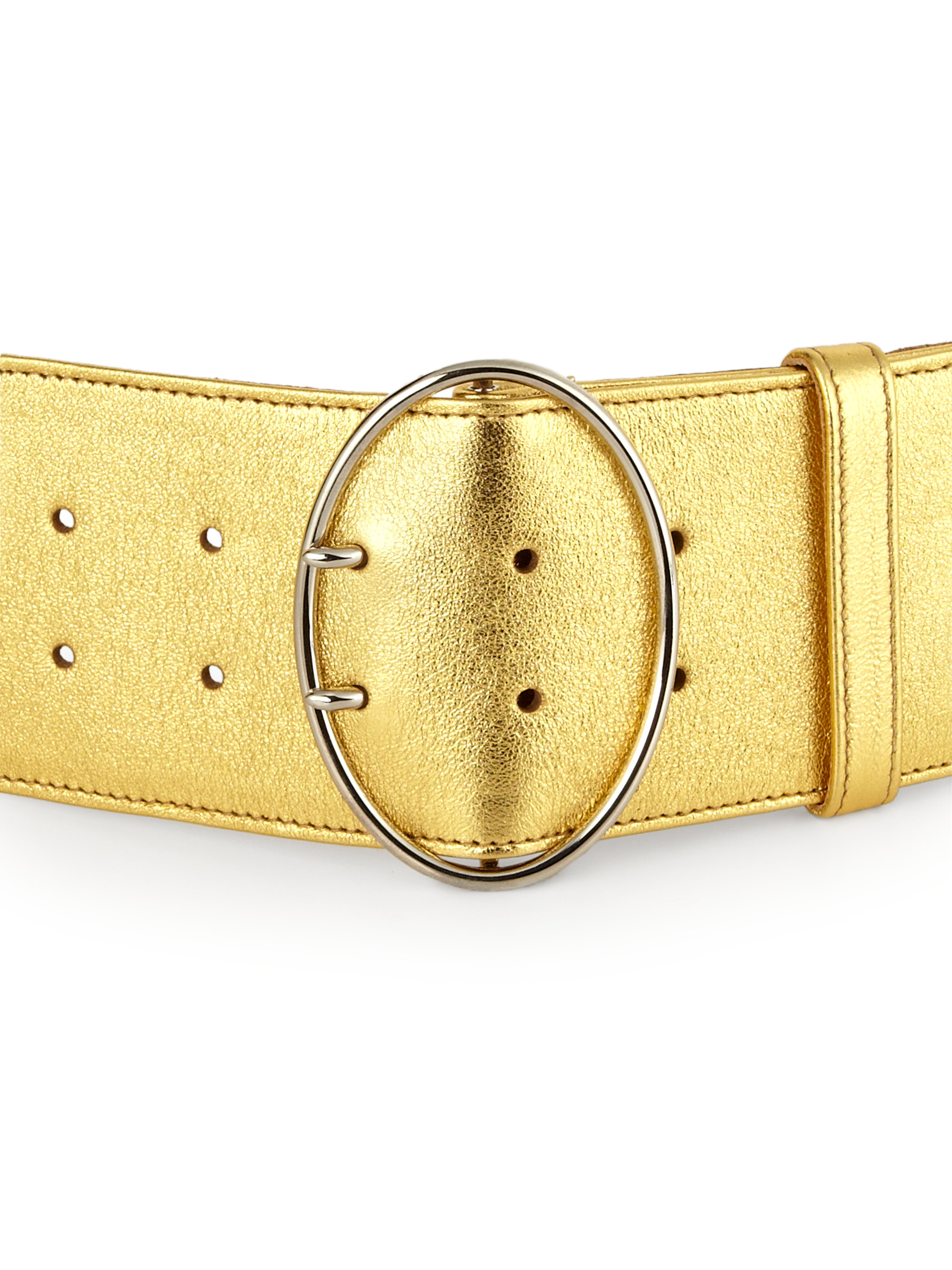 Prada Wide Metallic Leather Belt in Gold | Lyst