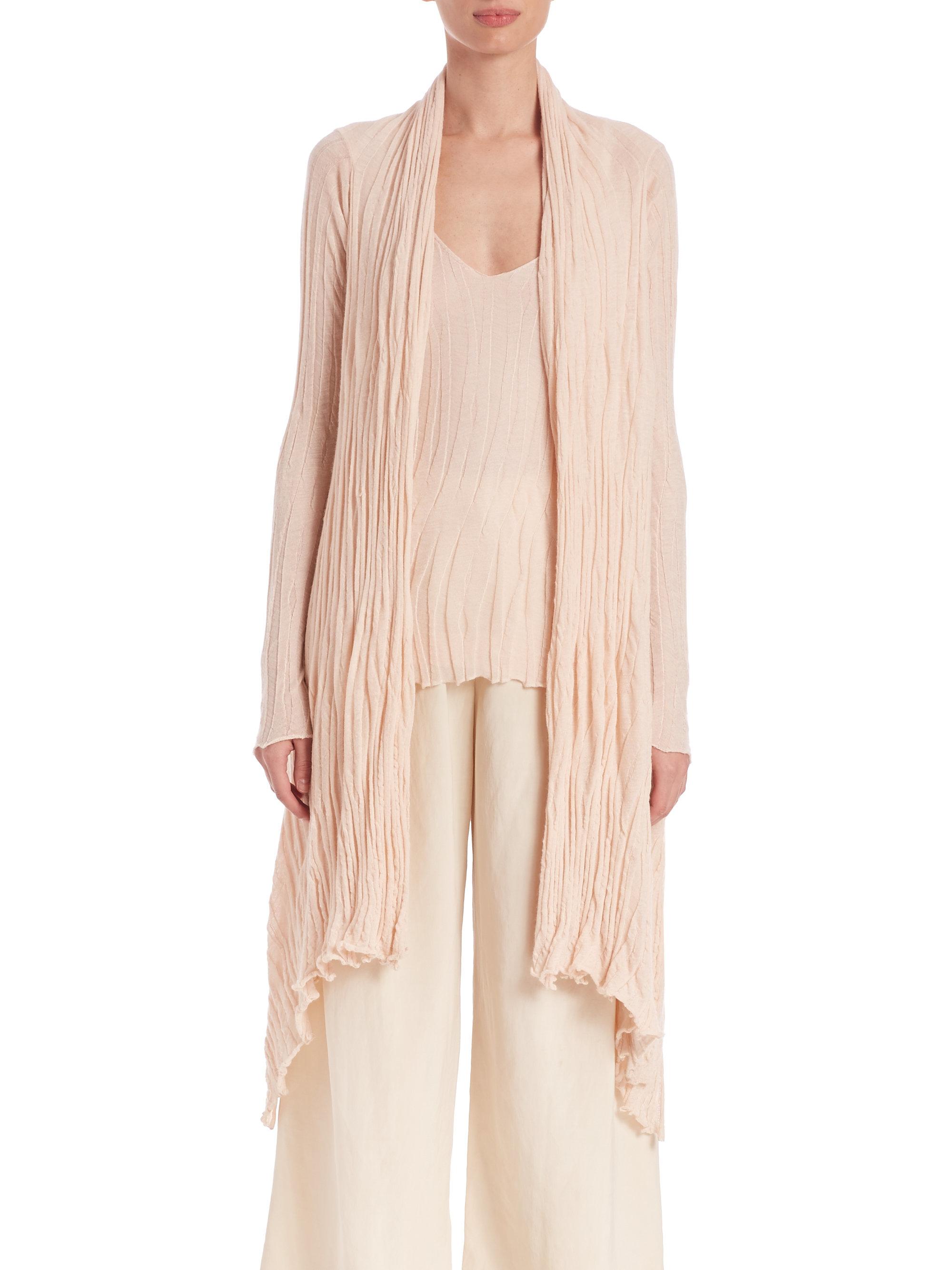 b0037c3694dc32 Donna Karan Asymmetrical Cashmere & Silk Cardigan in Pink - Lyst