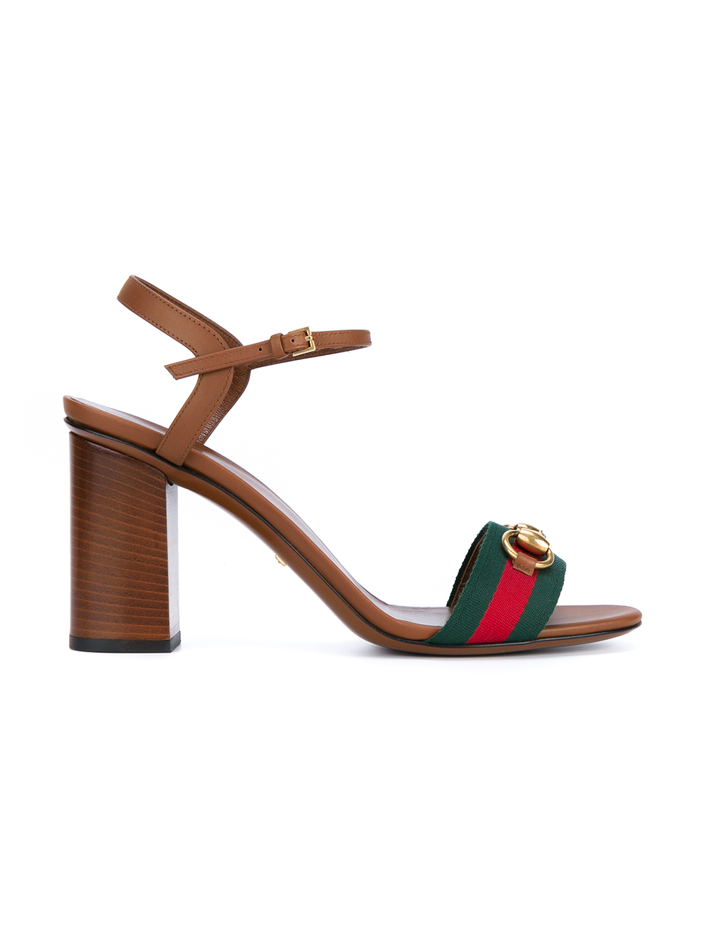 2062f6f5a Gucci Leather Block Heel Sandals in Orange - Lyst