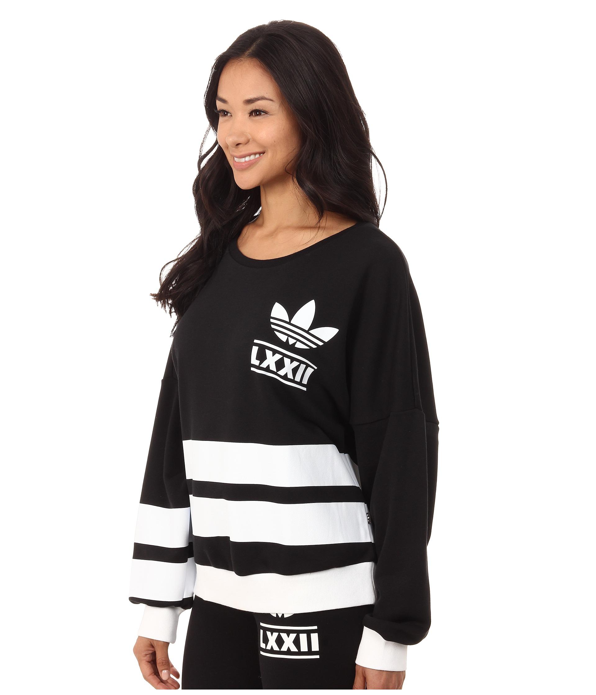 lyst adidas originali berlino logo 3 strisce equipaggio maglione nero
