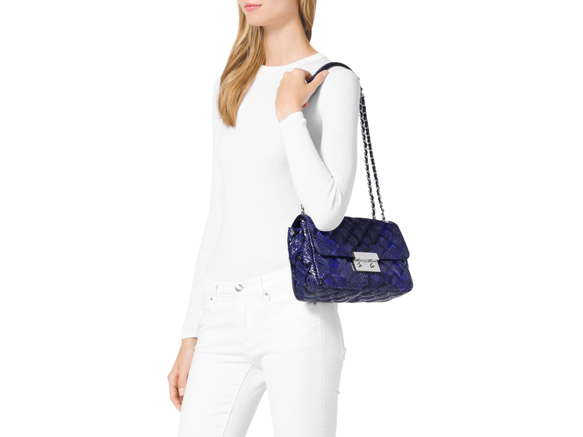 d54470268616 MICHAEL Michael Kors Large Sloan Quilted Embossed Python Shoulder Bag in  Blue - Lyst