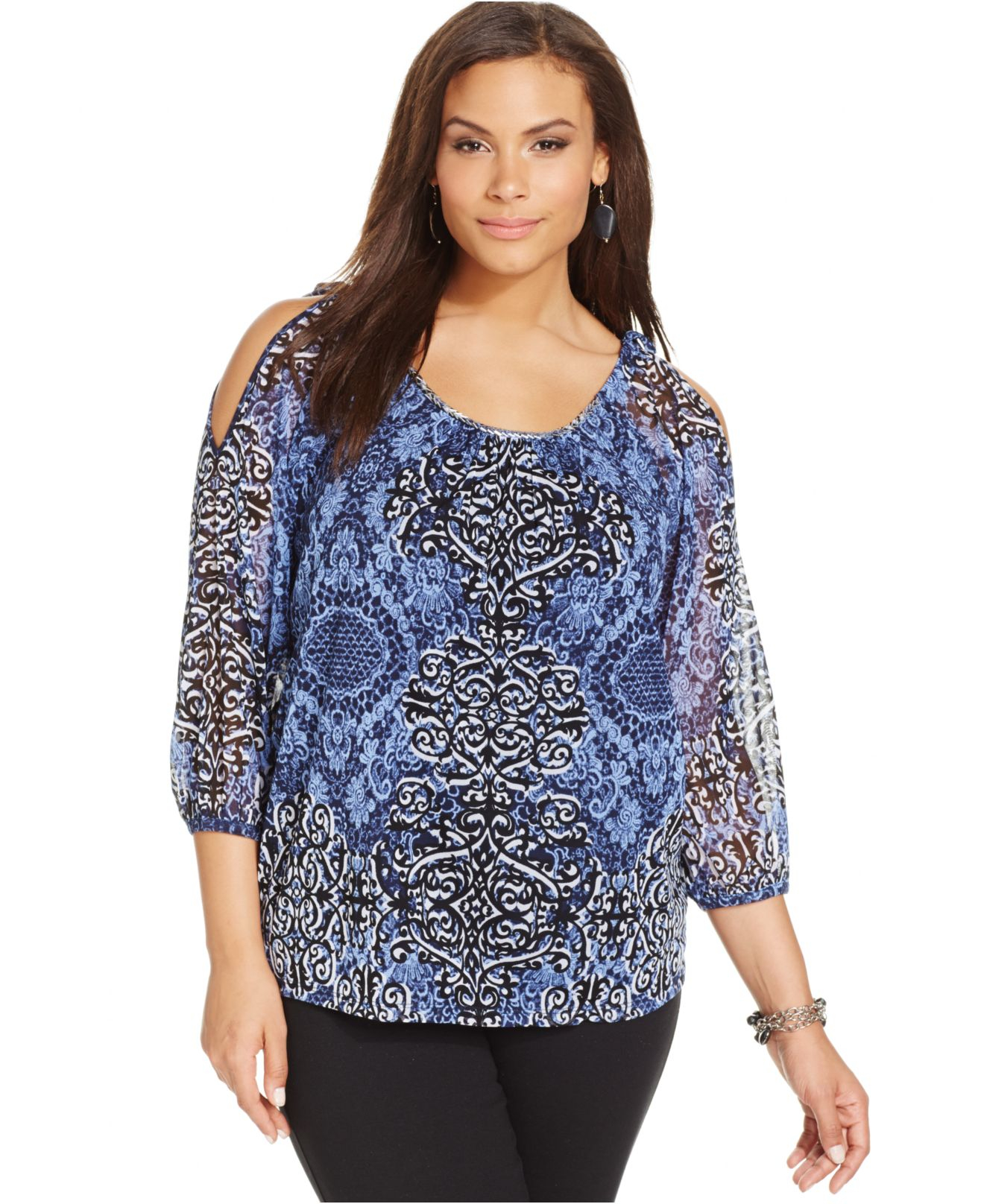 76896610bd9 Lyst - INC International Concepts Plus Size Cold-Shoulder Printed ...