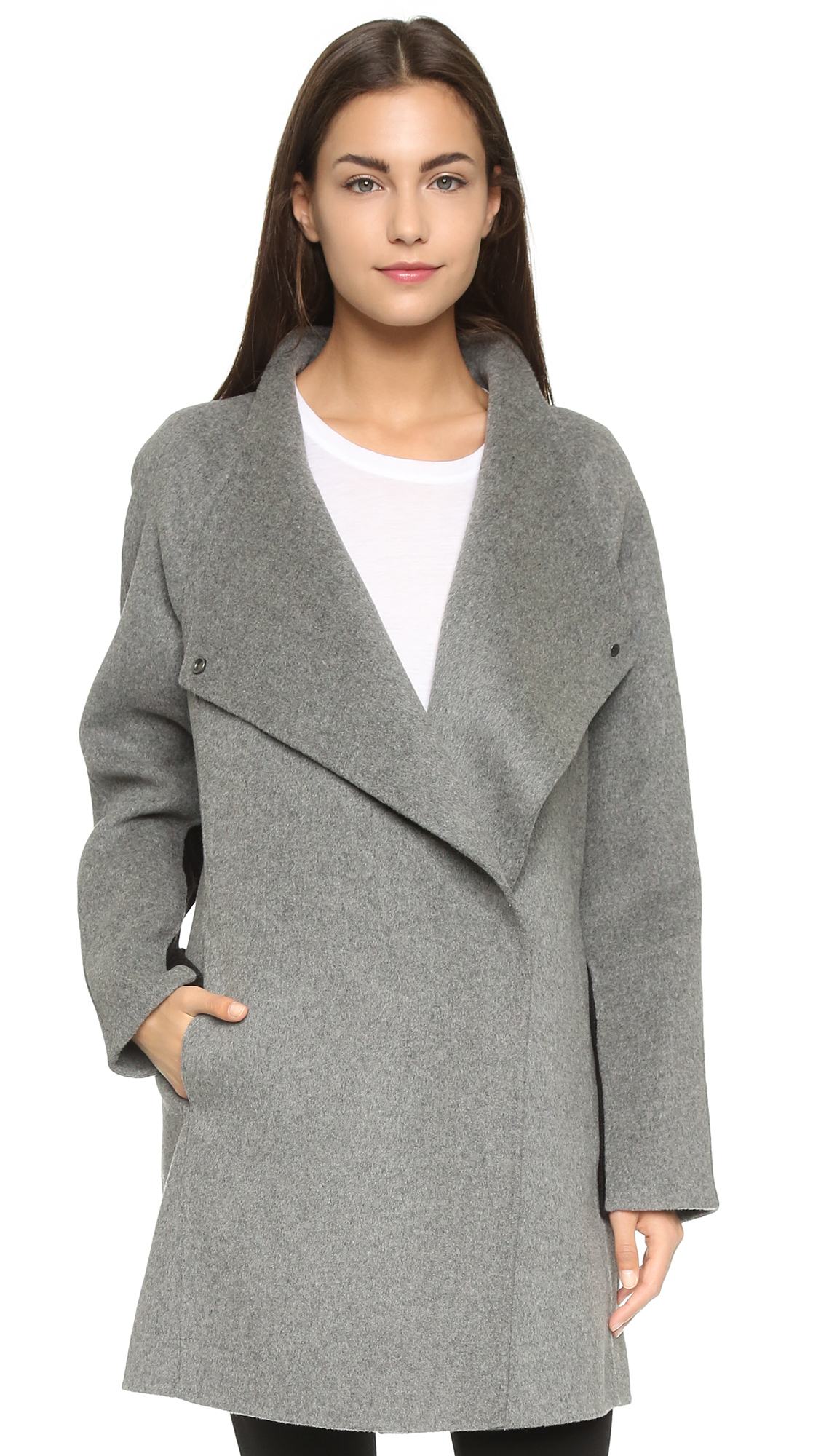 Vince Two Tone Sweater Coat - Charcoal Melange/black in Gray | Lyst