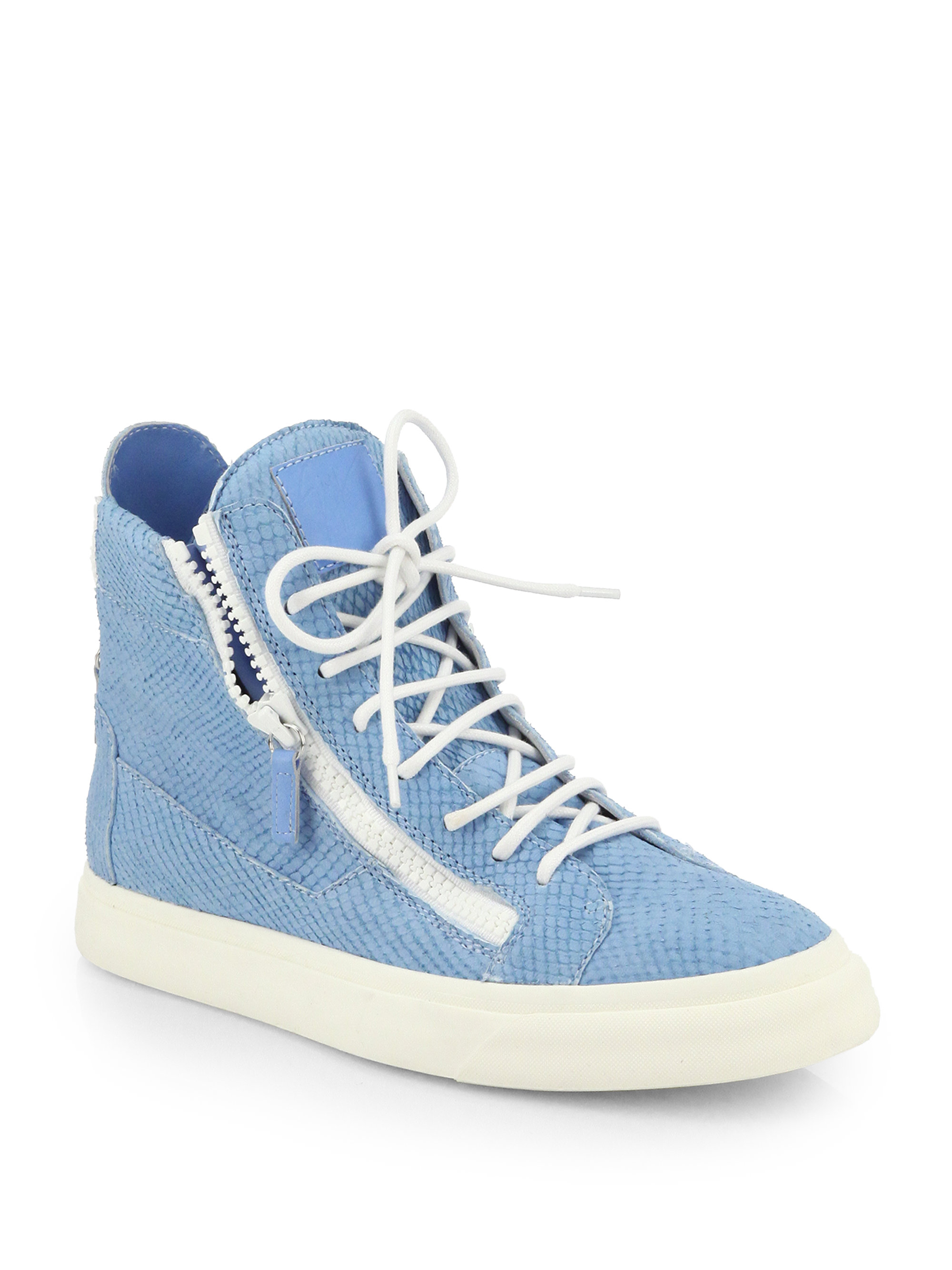 4c79a97b6a2 Lyst - Giuseppe Zanotti Snakeskin-Embossed Leather High-Top Sneakers ...