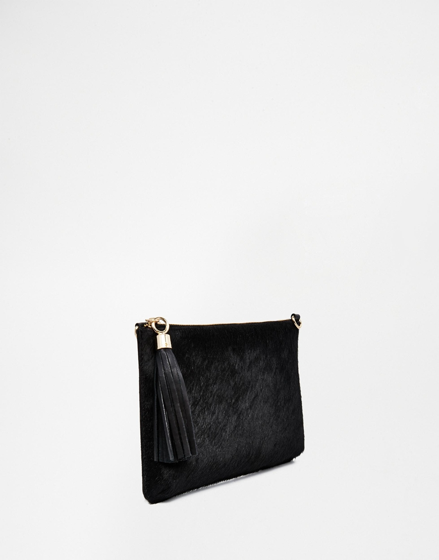 Lyst Urbancode Leather Pony Detail Clutch Bag With Optional Shoulder Strap In Black